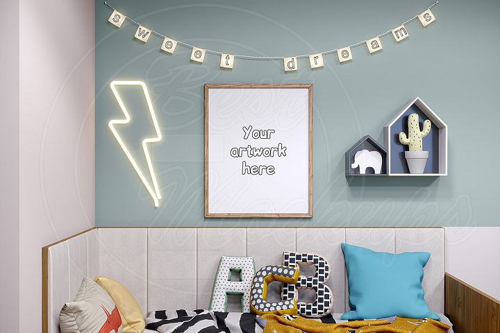 Kids room mockup frame styled stock