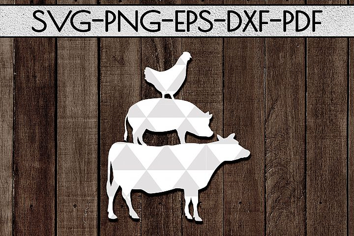 Farm Animal Papercut Template, Farmhouse Themed, PDF, SVG