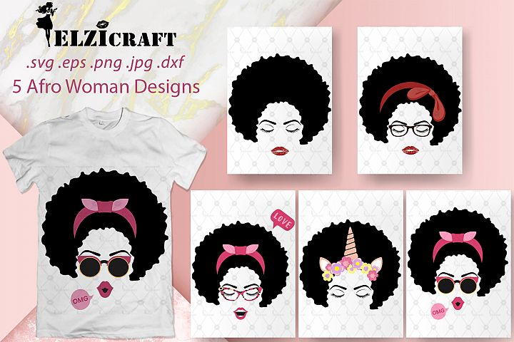 BUNDLE Afro Woman Face SVG Cut Files
