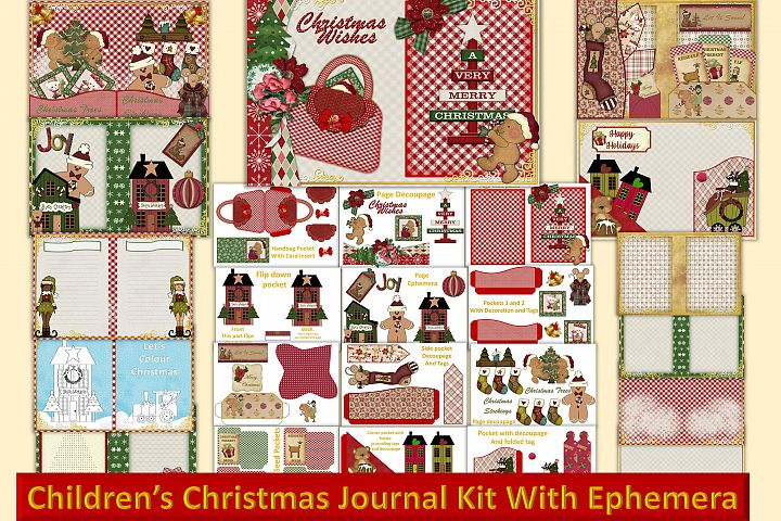 Childrens Christmas Journal Kit with Free Ephemera