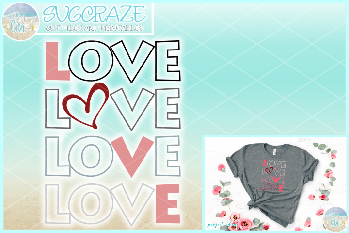 LOVE with Heart SVG Dxf Eps Png Pdf Files