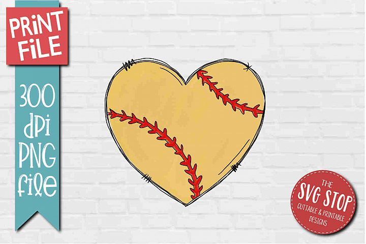 Softball Doodle Heart Sublimation Design PNG