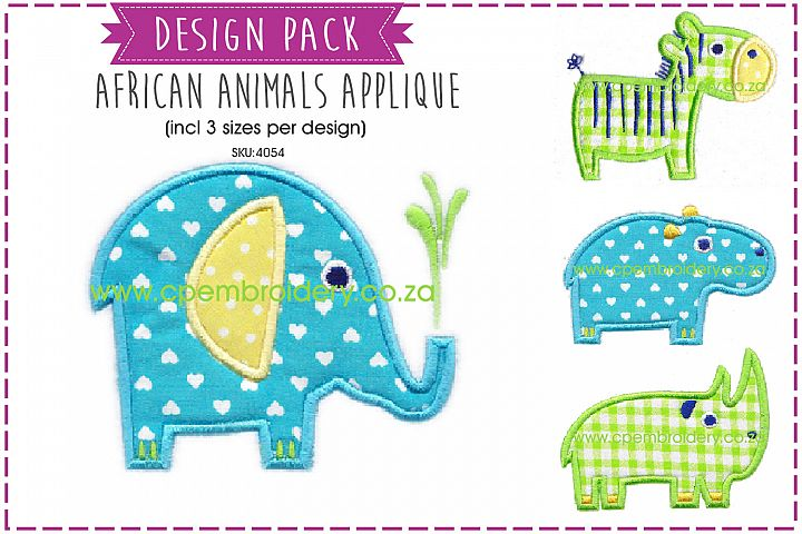 African Animal Applique Embroidery Complete Pack