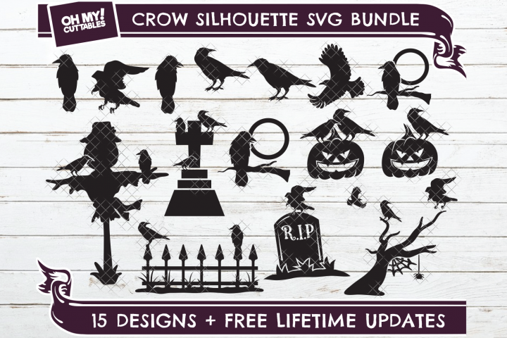 Crow SVG Silhouette Raven in SVG, DXF, PNG, EPS, JPG