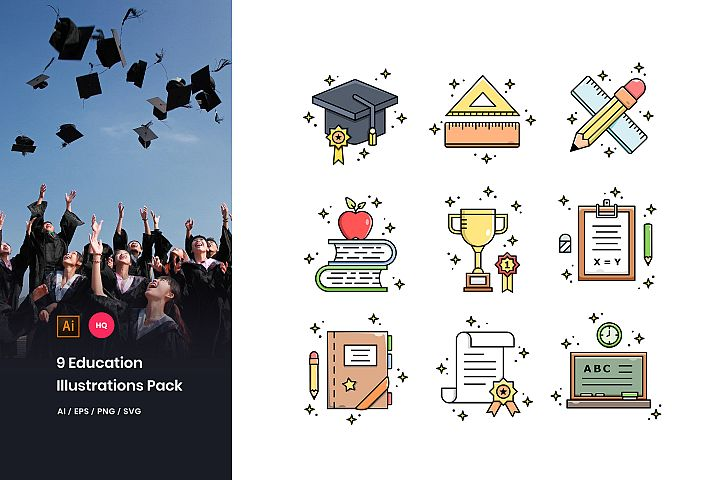 9 Education Illustrations Pack