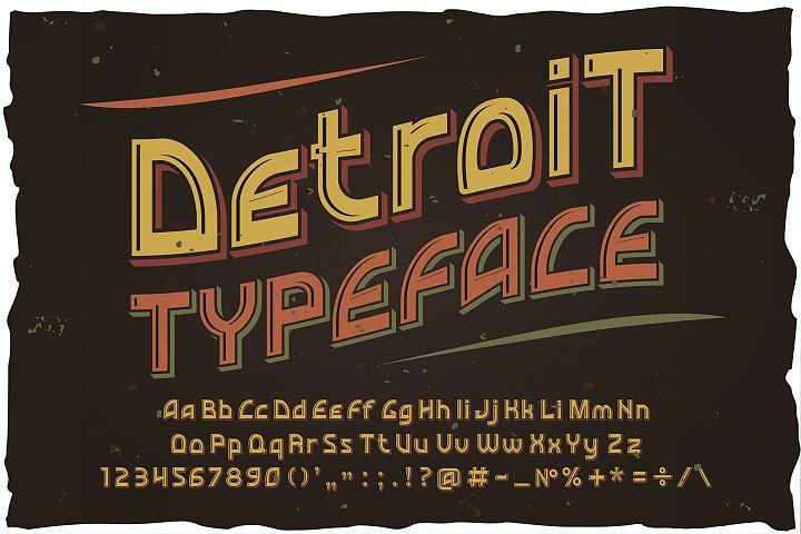 Detroit. OTF and Vector vintage font.