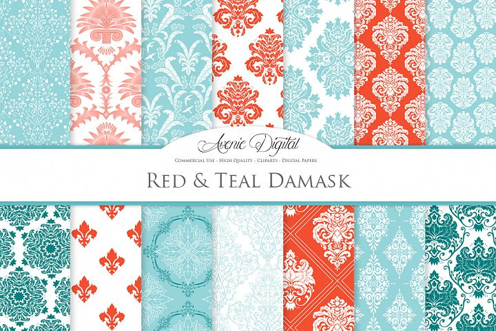 28 Red and Teal Damask Patterns - Seamless Digital Papers Bundle