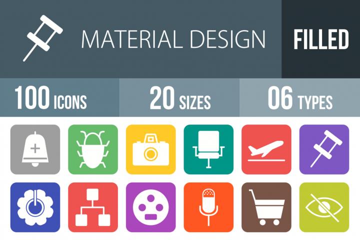100 Material Design Filled Round Corner Icons