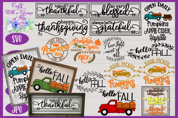 Fall SVG Bundle | Autumn Sign SVGs | Fall Farmhouse Designs