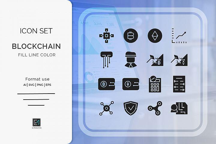 Icon set BLOCKCHAIN glyph style