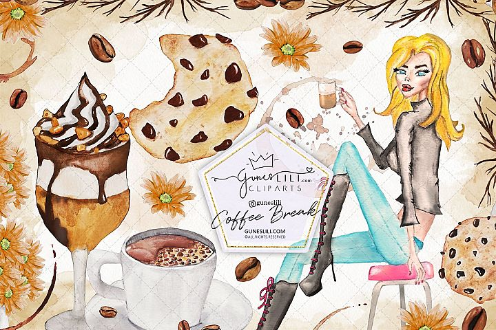 Coffee Break Coffee Beans & Girl illustration pack