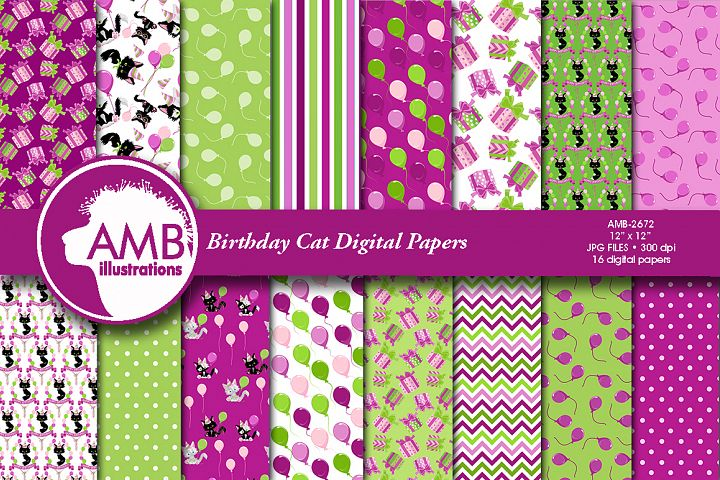 Birthday Cat digital papers AMB-2672