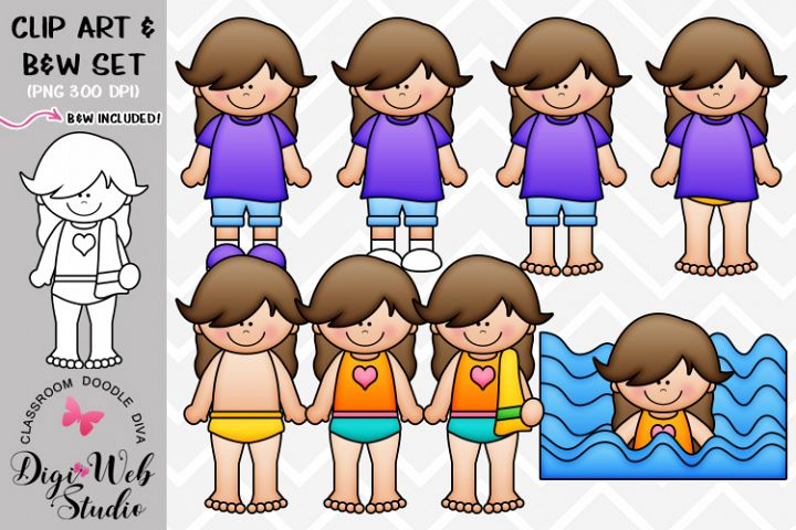 Clip Art / Illustrations - Cassie Gets Dressed for Swimming