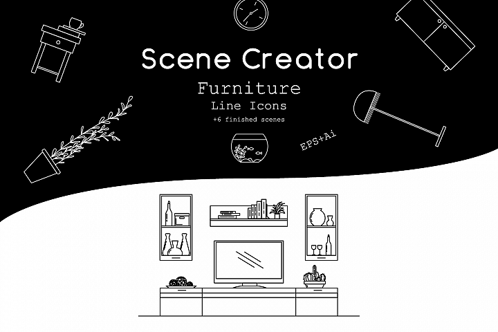 Interior scene creator. Furniture line icons.