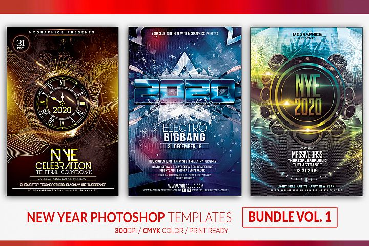 New Year 2020 Photoshop Templates Bundle Vol 1