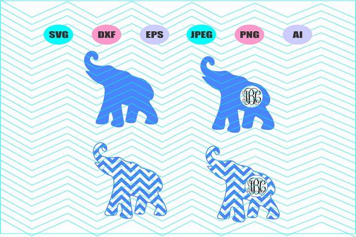 Elephant monogram Svg Vector File Cricut Design Vinyl Decal