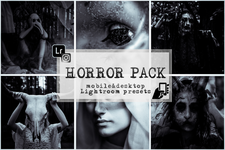 Horror presets lightroom mobile pc halloween black white