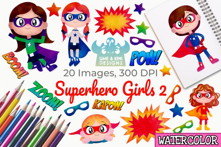 Superhero Girls 2 Watercolor Clipart, Instant Download