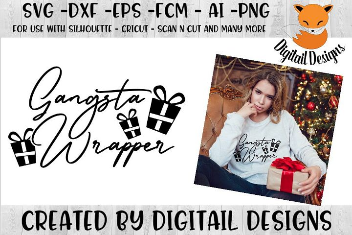 Funny Christmas Gangsta Wrapper SVG for Silhouette, Cricut
