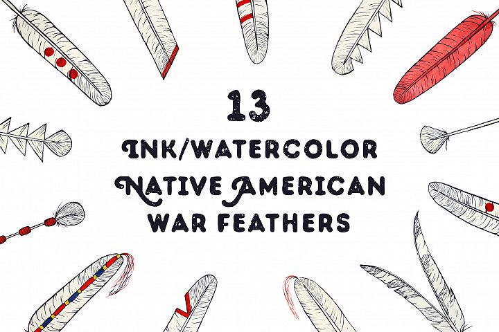Hand drawn Native American feathers example