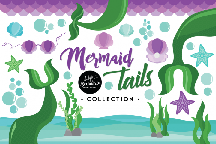 Mermaid Tails Clipart Graphics & Digital Paper Patterns Bundle