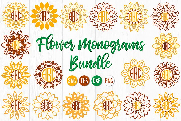 Flower Monogram, Sunflower Monogram, Monogram Bundle