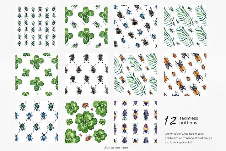 Beetles & Leaves. Watercolor set illustrations example image 3