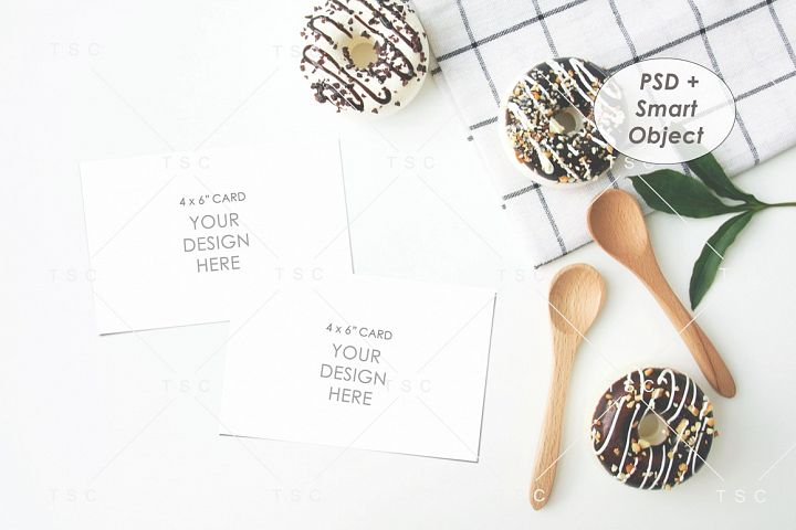 Recipe Card Mockup / 4x6 Card Mockup / Donut / Kitchen
