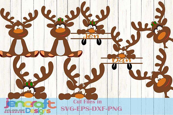 Peeping Reindeer SVG - Christmas Monogram SVG image files