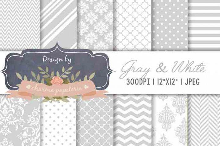 Grey Digital Paper Damasks Gray background