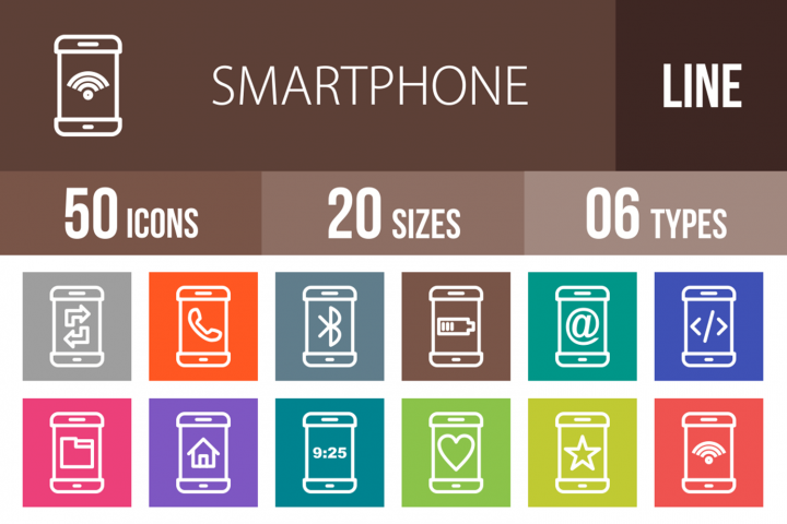 50 Smartphone Line Multicolor B/G Icons