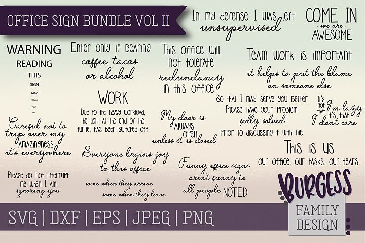 Office Sign Bundle Vol II | SVG DXF EPS PNG JPEG