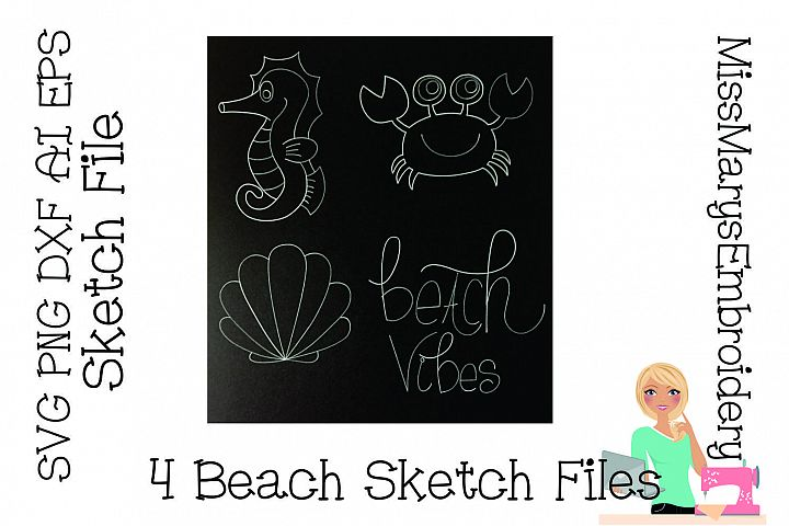 Beach Vibes Sketch File SVG PNG DXF AI EPS Al