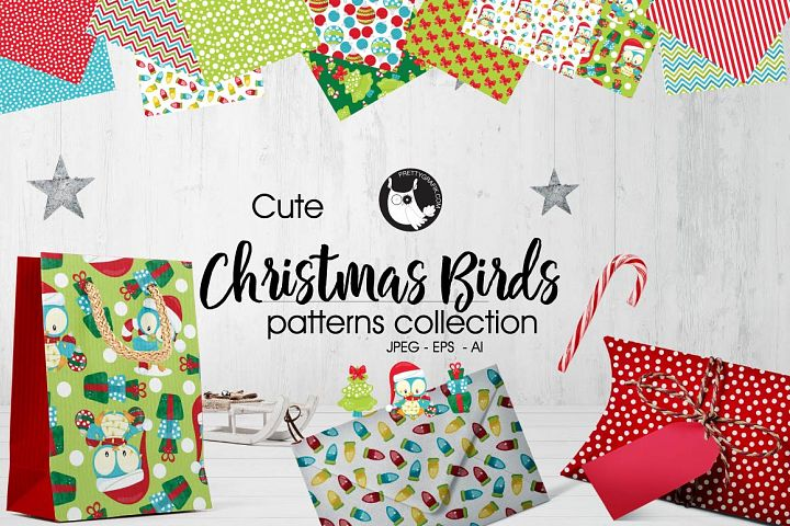 CHRISTMAS-BIRDS, digital papers