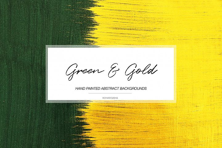 Green & Gold Abstract Backgrounds, Hand Painted Backgrounds