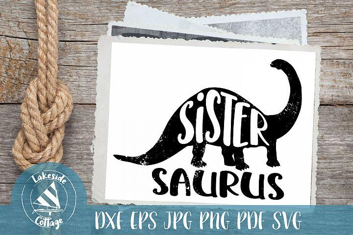 Sister saurus svg - dinosaur svg - dinosaur sister decal