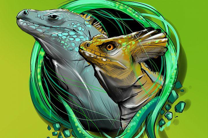 Lizard cartoon.Reptile emblem.