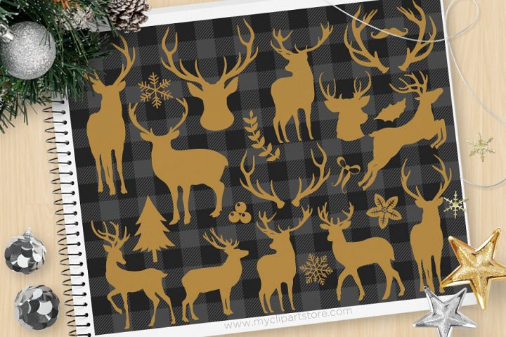 Reindeer Silhouettes, Buffalo Check - Vector Clipart & SVG