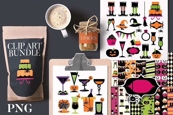 Halloween Party Clip Art Illustration Bundle
