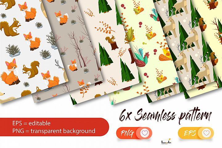 Woodland Animals Mini Bundle - 6x Seamless Pattern