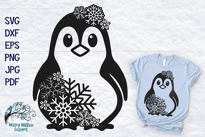 Snowflake Penguin SVG | Winter Penguin SVG Cut File