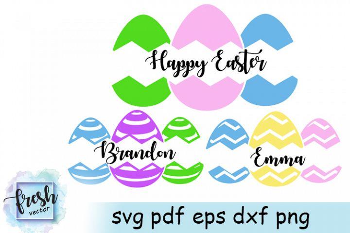 Easter Eggs Split Monogram Svg Easter Monogram Svg Eggs Svg