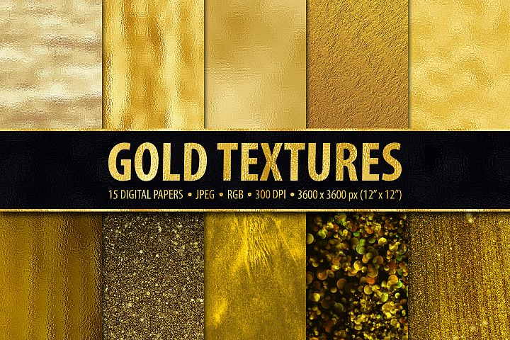 Gold Foil and Glitter Textures - Metallic Digital Papers example
