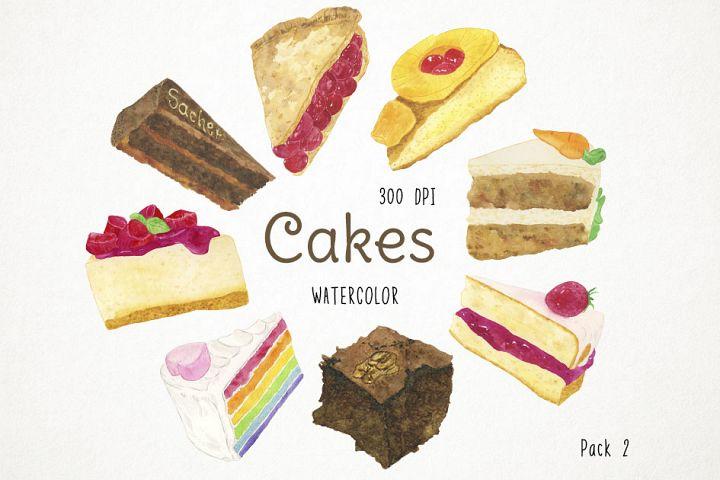Watercolor Cake Clipart, Celebration Cake, Cake Clip Art