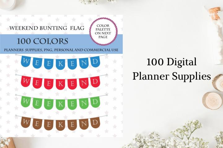 100 Bunting weekend flags clipart, Weekend Banner art