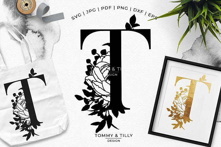 T Bouquet Letter Design - Paper Cut SVG EPS DXF PNG PDF JPG