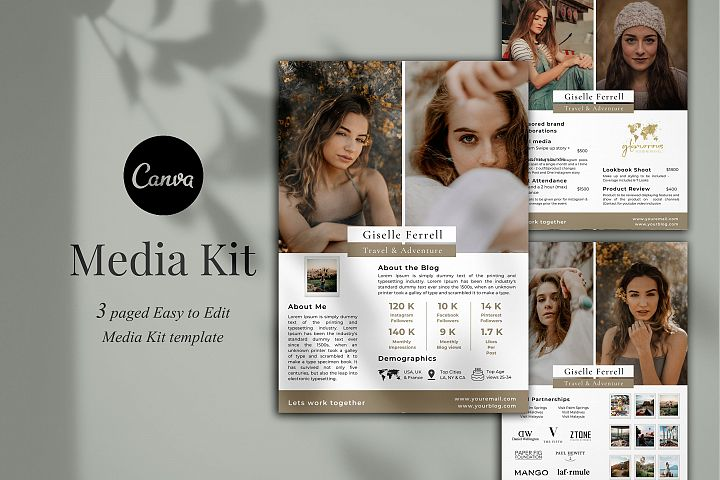 Media Kit Template, 3 Pages, Canva