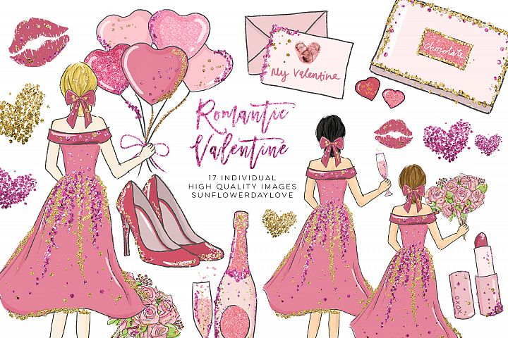 Romantic date Valentine Clipart set, fashion clipart set