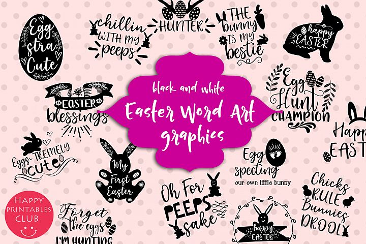 Easter Word Art Clipart- Easter Clipart Graphics- Overlays