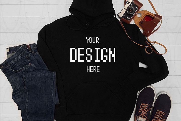 Blank black Hoodie mockup Jeans Photo camera Flat lay